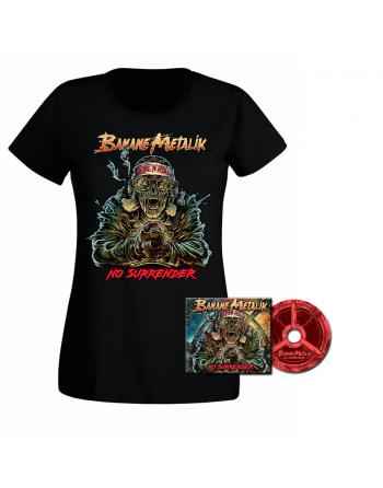 """BANANE METALIK - """"No Surrender"""" pack CD & Tshirt femme"""